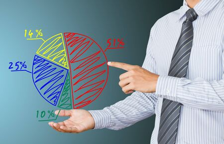 safe investment: a Business hand pressing a chart Stock Photo