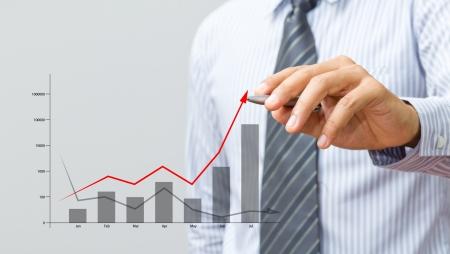 felt tip pen: Business hand drawing a graph Stock Photo