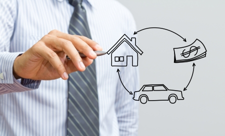 Hand drawing home, car and money Stock Photo - 15380900