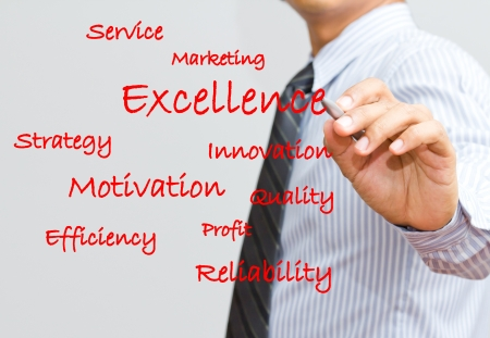 Businessman writing excellence and marketing wording photo