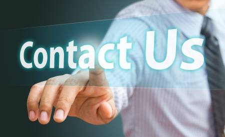 contact info: Business hand touch contact us