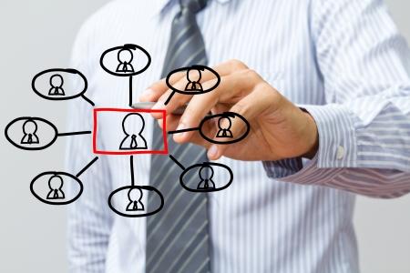 estructura: hombre dibujo estructura de la red social en una pizarra