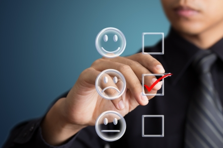 unconcerned: business man check box unhappy mood