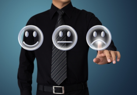 businessman touching unhappy mood