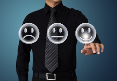 customer survey: businessman touch happy mood
