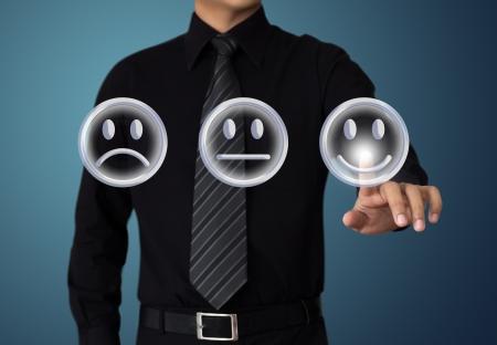satisfaction client: humeur tactile happy businessman