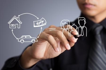 property insurance: Empresario dibujo Seguros concepto Foto de archivo