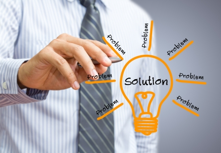 problem solution: idea or innovation change problem to solution concept Stock Photo