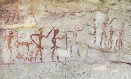 grotte: C�l�bres peintures rupestres pr�historiques de la Tha�lande Banque d'images