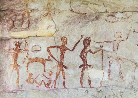 peinture rupestre: Célèbres peintures rupestres préhistoriques de la Thaïlande Banque d'images