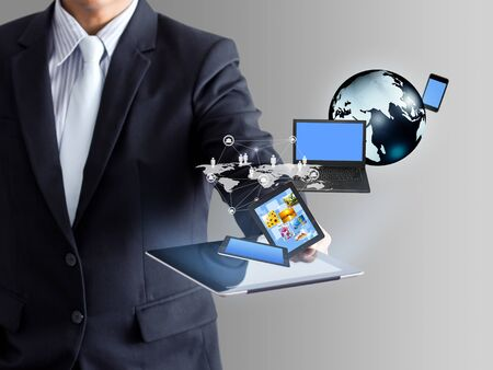 guy with laptop: Technology in businessmen hand