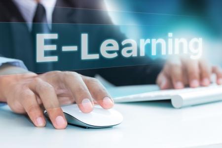computing machine: Hand typing on laptop computer keyboard  e-learning  Stock Photo