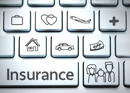 health insurance: Keyboard for insurance Stock Photo