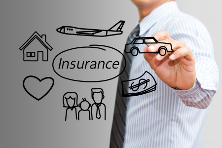 home insurance: Businessman drawing Insurance concept
