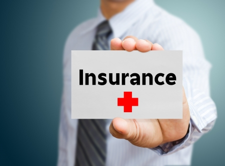 financial insurance: Business man showing insurance
