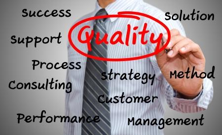 control de calidad: hombre de negocios por escrito concepto de calidad