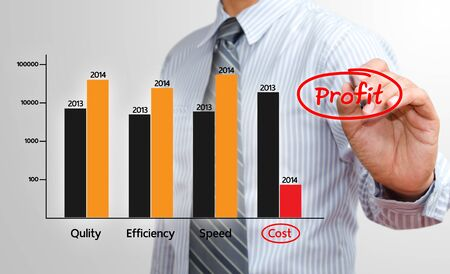 collate: Businessman writing profit chart in 2014