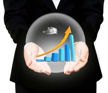 Hand holds the chart of growth in crystal ball Stock Photo - 19265010