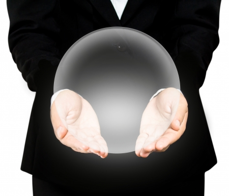 Hand holding a crystal Ball Stock Photo - 19265011