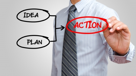 action plan: Businessman drawing action chart