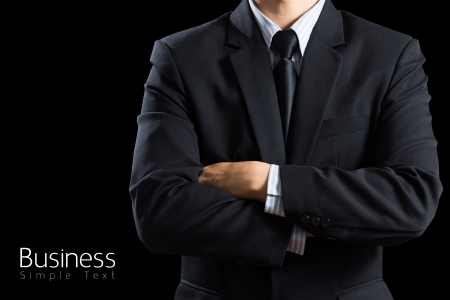 closeup businessman suit Isolated on black background photo