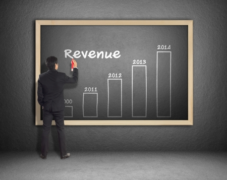 Business man writing increased revenue graph for 2014 photo