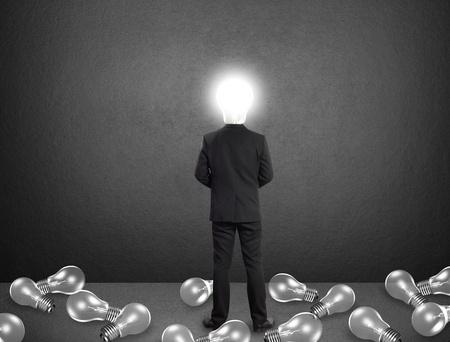 Lamp head businessman, Idea concept Stock Photo - 19558679