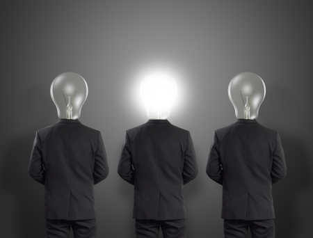 Lamp head businessman, Idea concept Stock Photo - 19558678