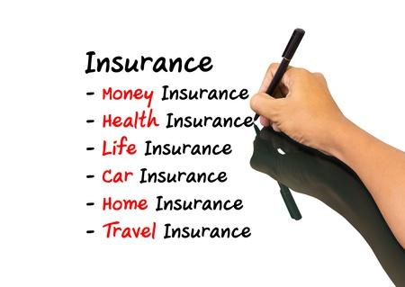 health management: Business man writing insurance concept