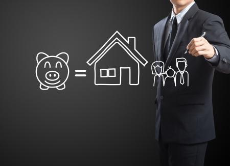 secure money: Businessman drawing Insurance concept