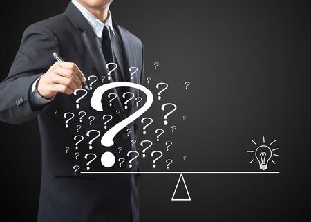 eliminate: business man eliminate problem and find solution