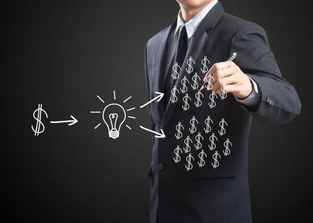 investment solutions: hombre de negocios por escrito concepto de inversi�n Foto de archivo
