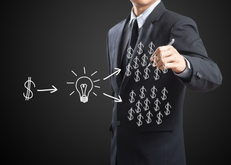retour: zakenman schrijven investeringsconcept Stockfoto