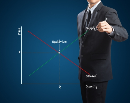 in demand: market economics concept with cross of supply and demand