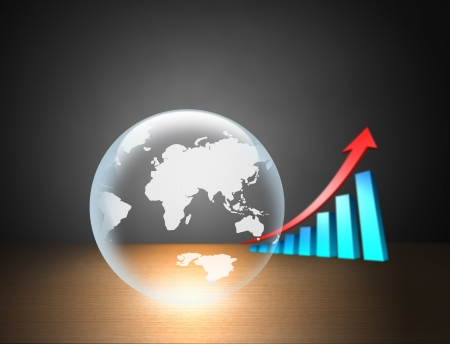 Crystal ball with a bar chart Stock Photo - 20322036