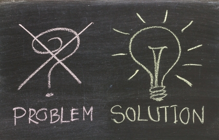 Problems Solutions handwritten with white chalk on a blackboard Stock Photo - 20325979