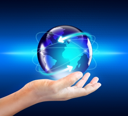 Internet Concept of global business in hand Stock Photo - 20325992