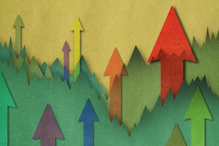 winning stock: Business charts with growth arrow
