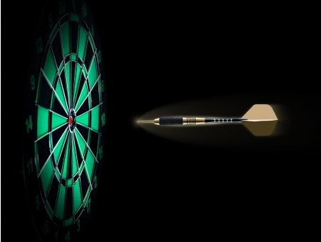 shooting target: Schot van darts in bullseye op dartbord