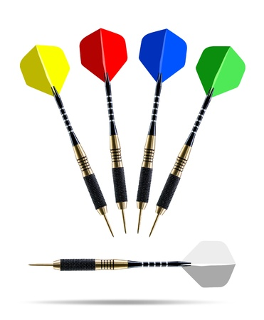 Set of color darts isolated on white background photo