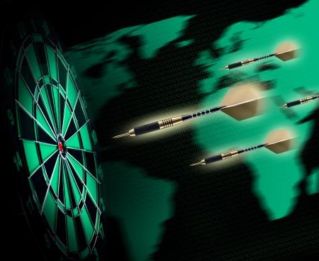 Schot van darts in bullseye op dartbord