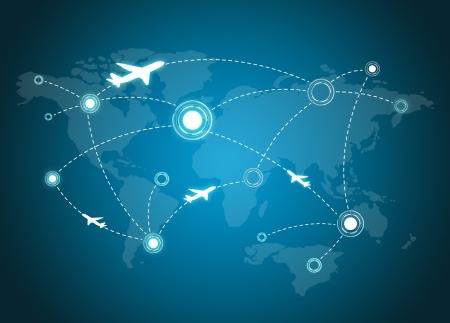 世界地図上の飛行機ルート 写真素材