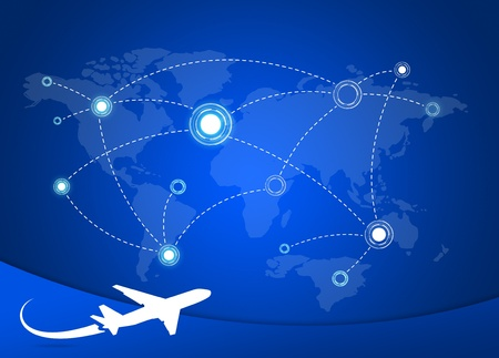 route map: Airplane Routes on world map Stock Photo