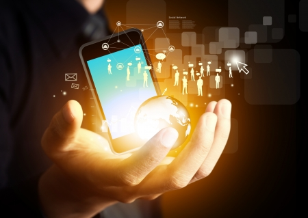 Mobile phones technology business concept