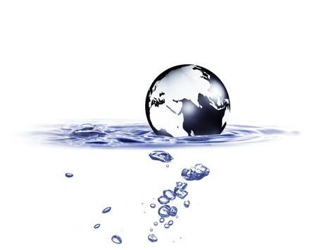 planeten: Weltkugel im blauen Wasser Lizenzfreie Bilder