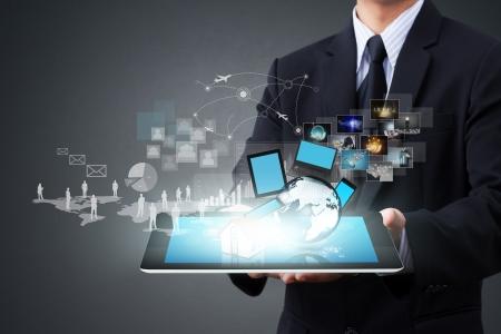 現代の無線技術とソーシャル メディア 写真素材