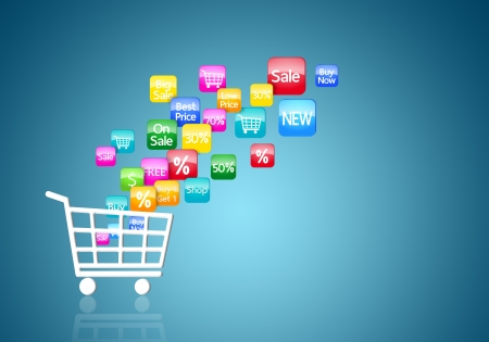 shopping trolley: Internet and Online Shopping Concept Stock Photo
