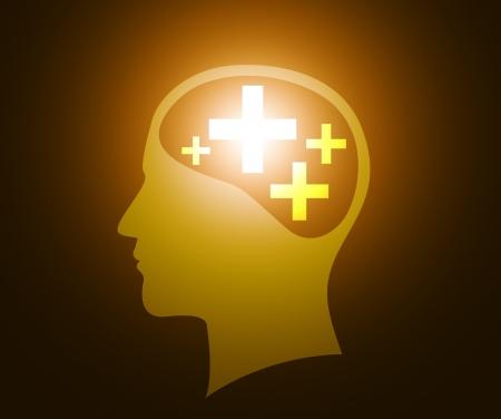 긍정적 인 생각을 가진 인간의 머리