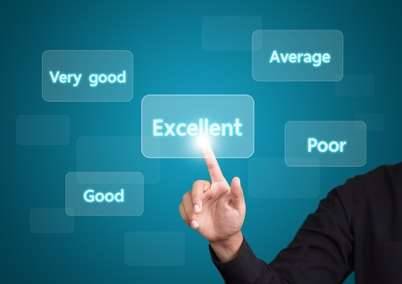 evaluate: business man evaluate excellent quality