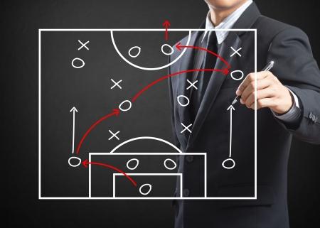 zeichnen: Fußballtrainer schriftlich Strategie der Angriffsspiel